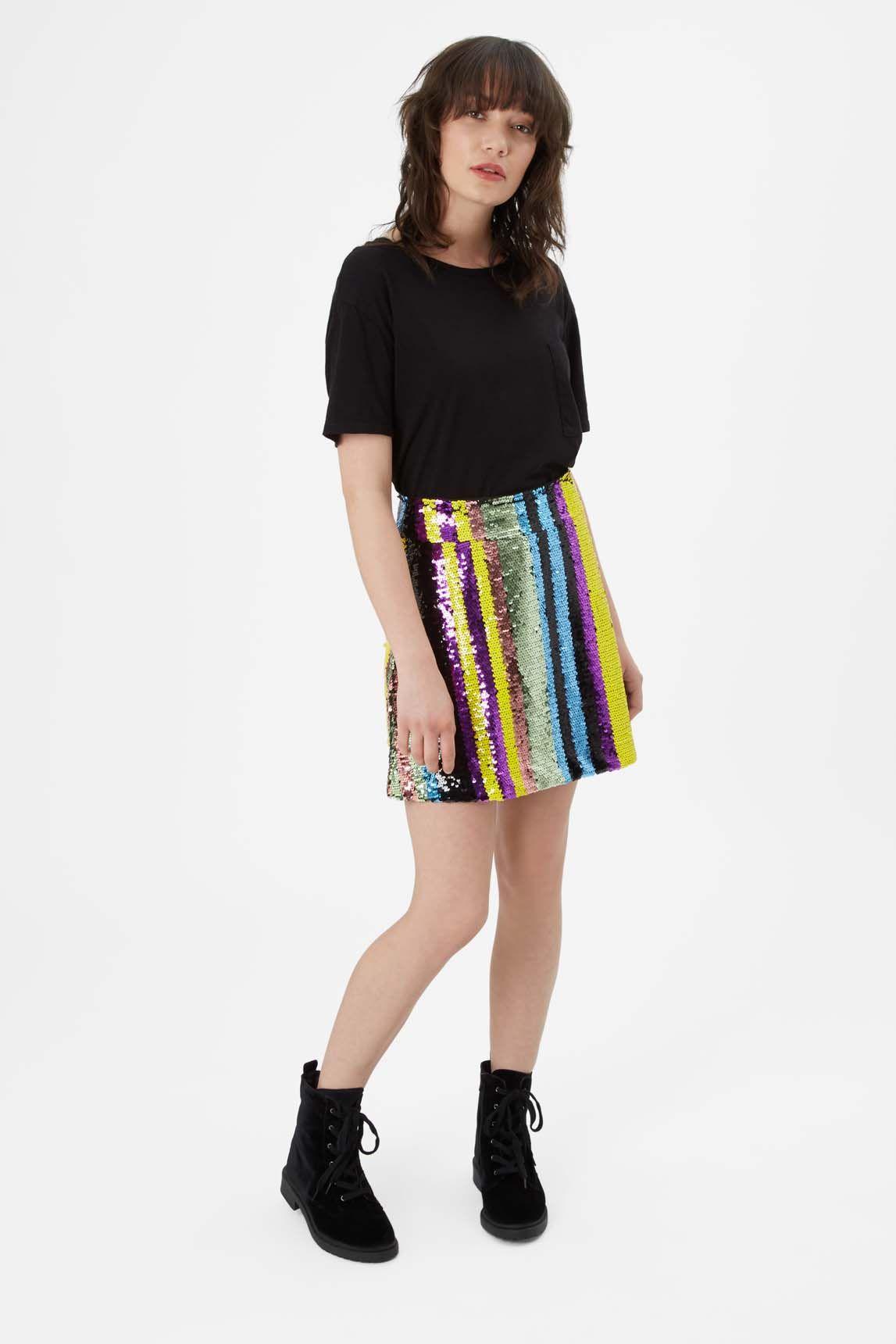 Sequin Mini Skirt in Multicoloured