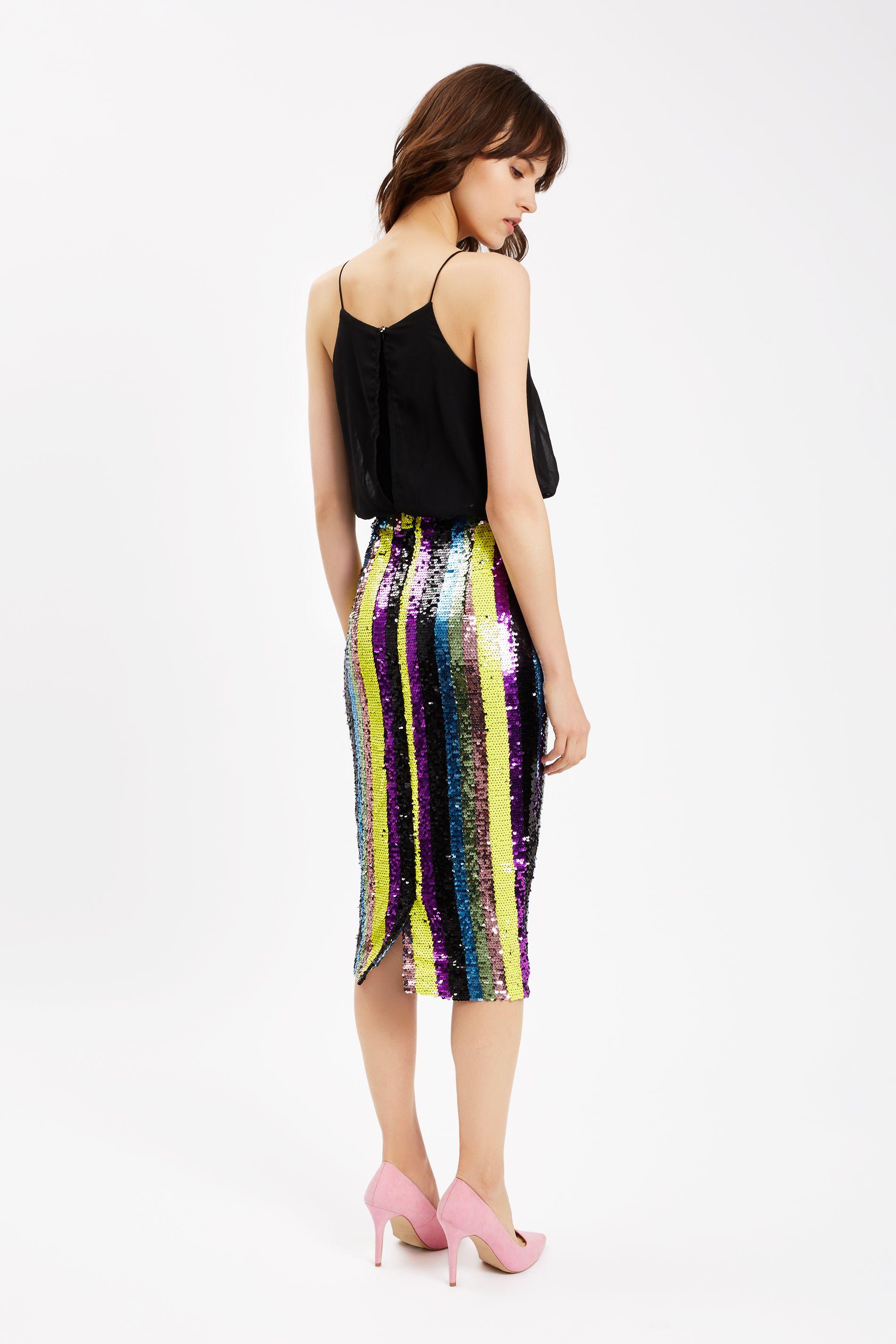 Rainbow Ricochet Sequin Pencil Dress in Black