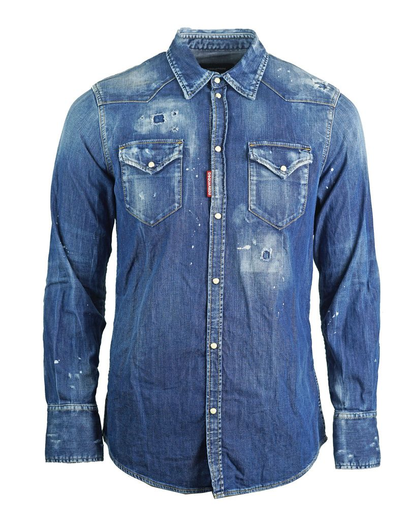 Dsquared2 Distressed Blue Denim Shirt