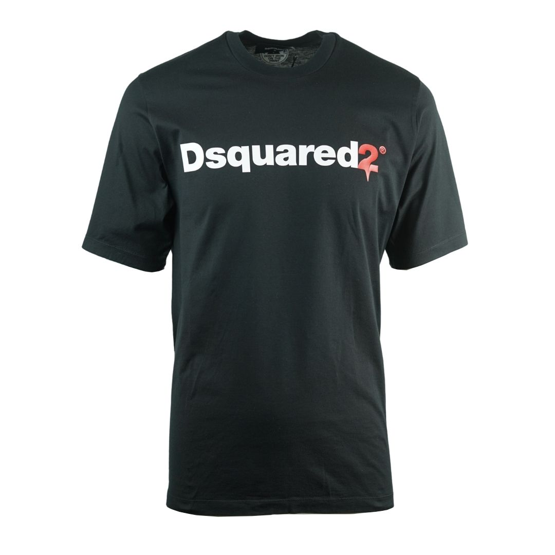 Dsquared2 Drip Logo Slouch Fit Black T-Shirt