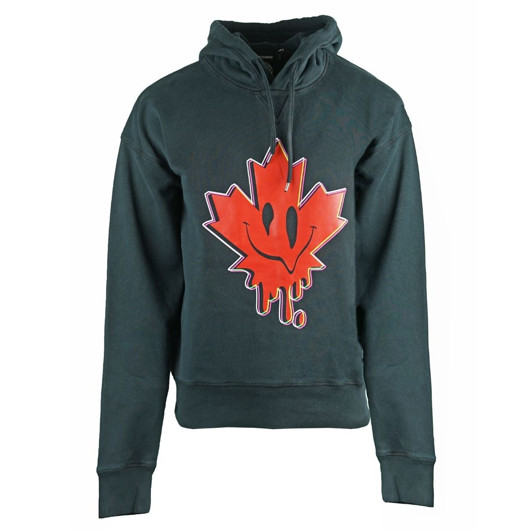 Dsquared2 Ball Fit Acid Maple Leaf Logo Black Hoodie
