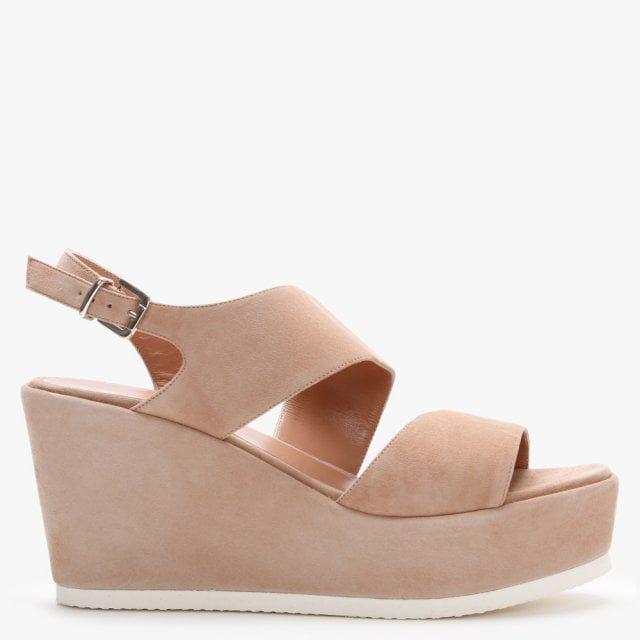 Daniel Samara Suede Asymmetric Strap Wedge Sandals