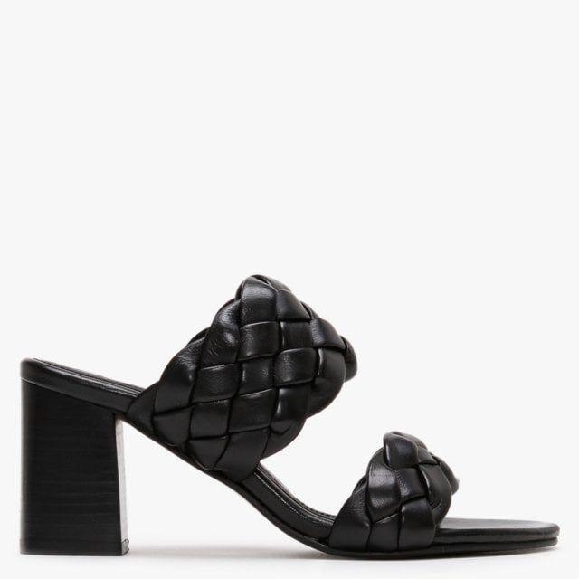Daniel Sanza Leather Chunky Woven Block Heel Mules