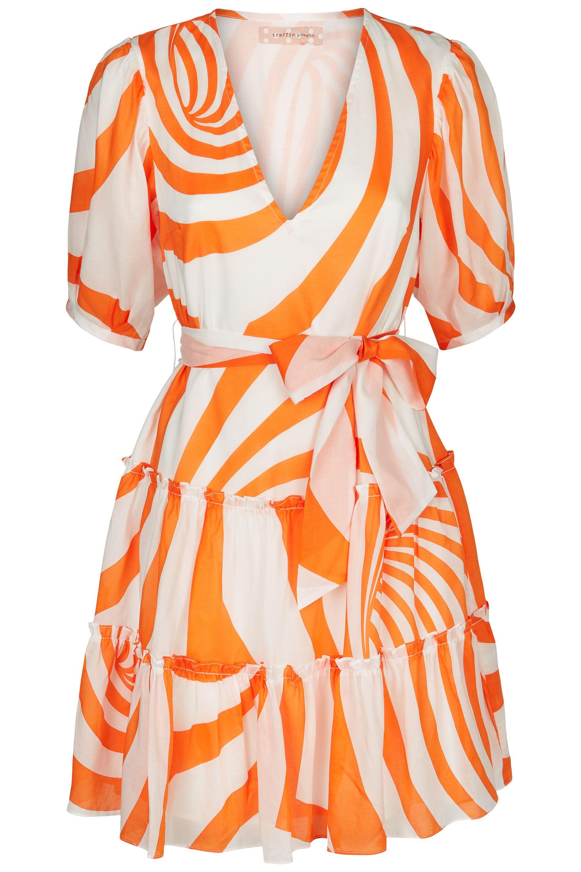 Felicitous Swirl Print Mini Dress in White and Orange