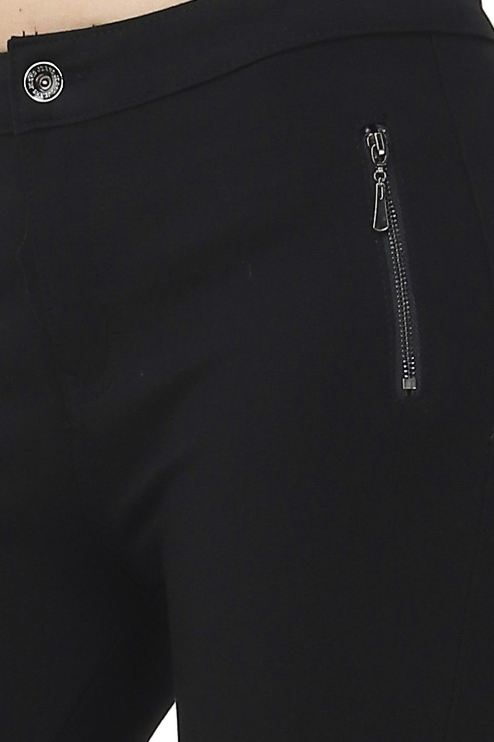 Assuili Straight Cut Jeans with Side Zip in Black