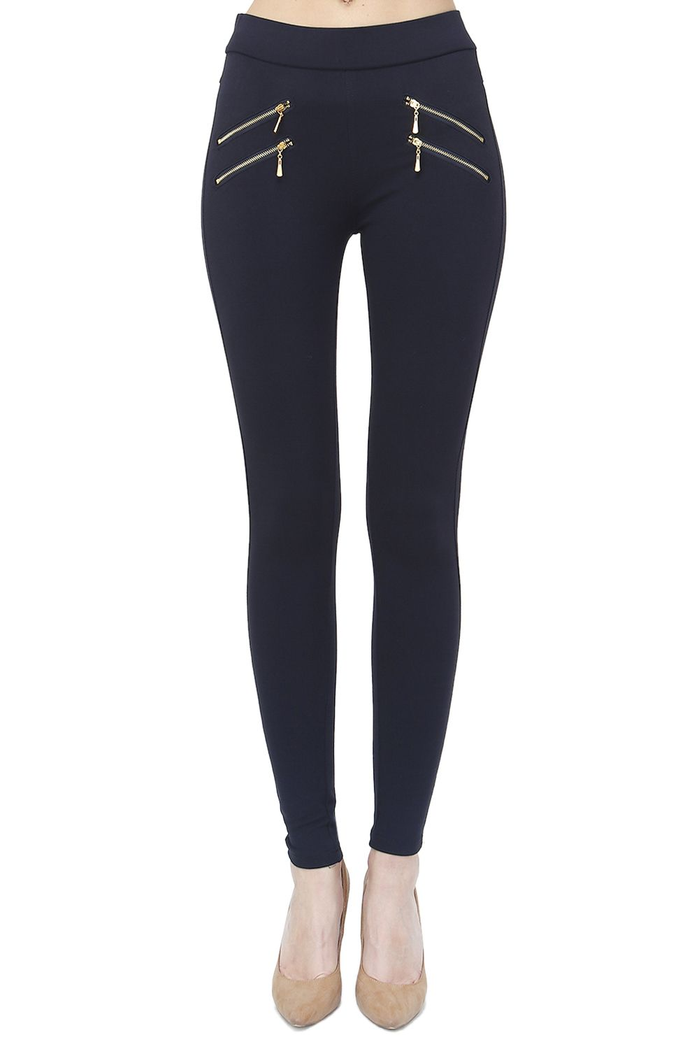Assuili Double Zip Detail Leggings in Navy