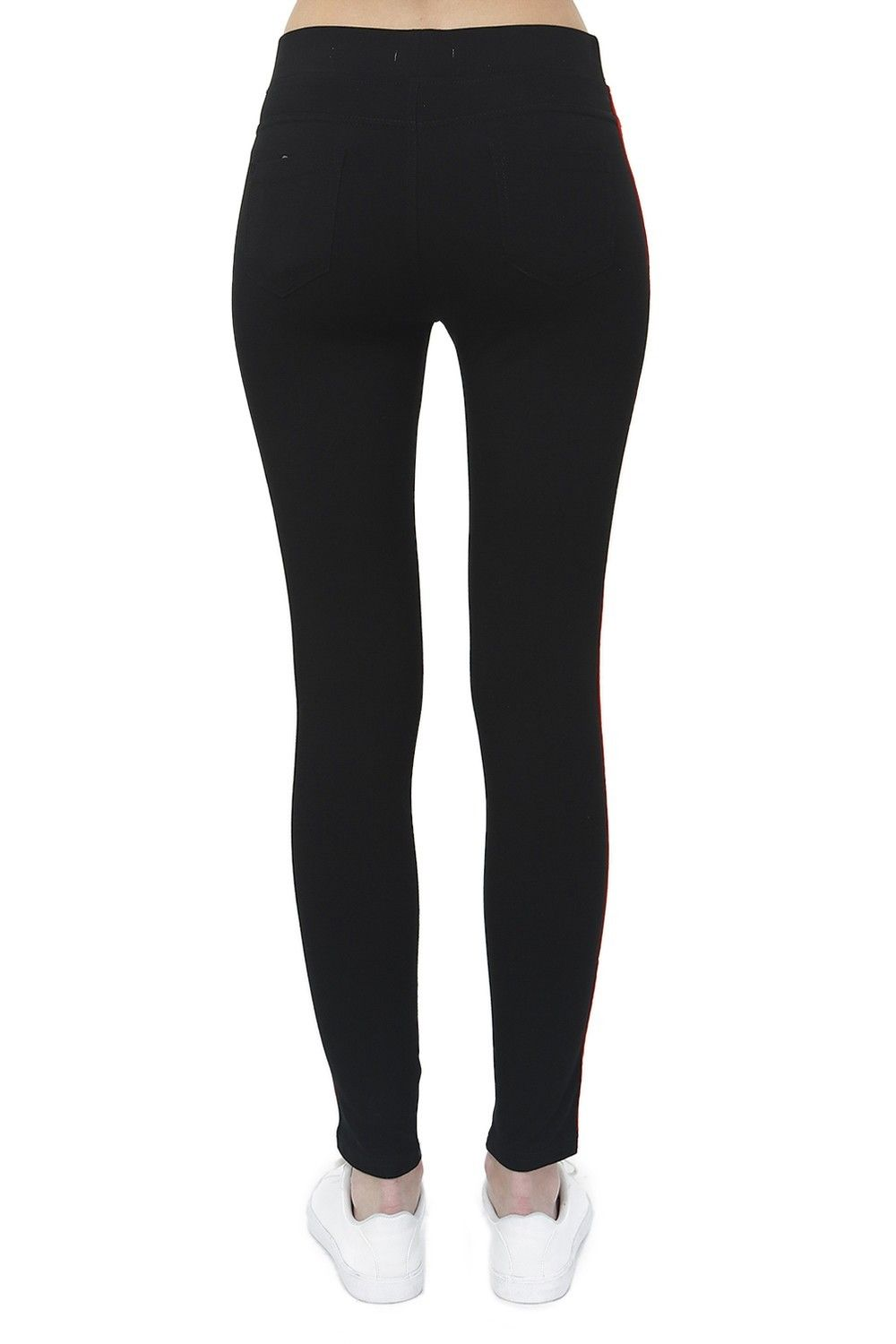 Assuili Two-tone Side Stripe Leggings in Black