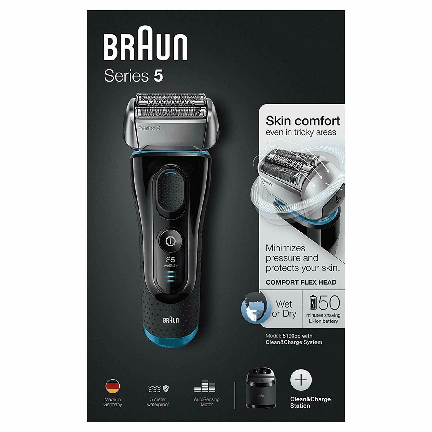 Braun Series 5 5190cc Wet & Dry Shaver with Clean & Charge Station Black & Blue