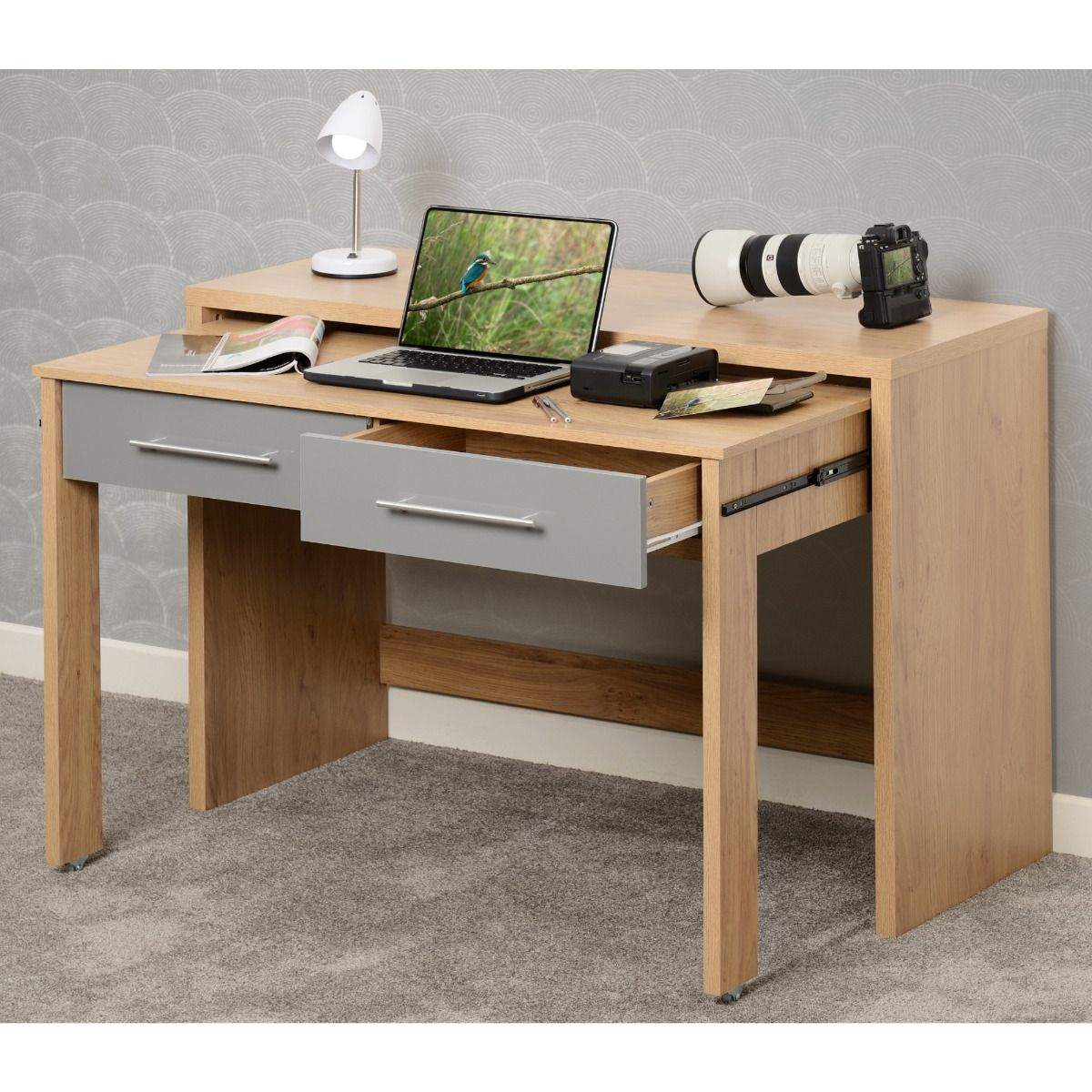Seville Grey and Light Oak Slider Desk