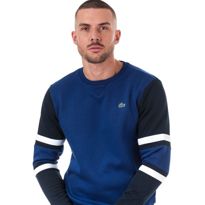 Men's Lacoste Striped Sleeves Fleece Sweatshirt in blue navy