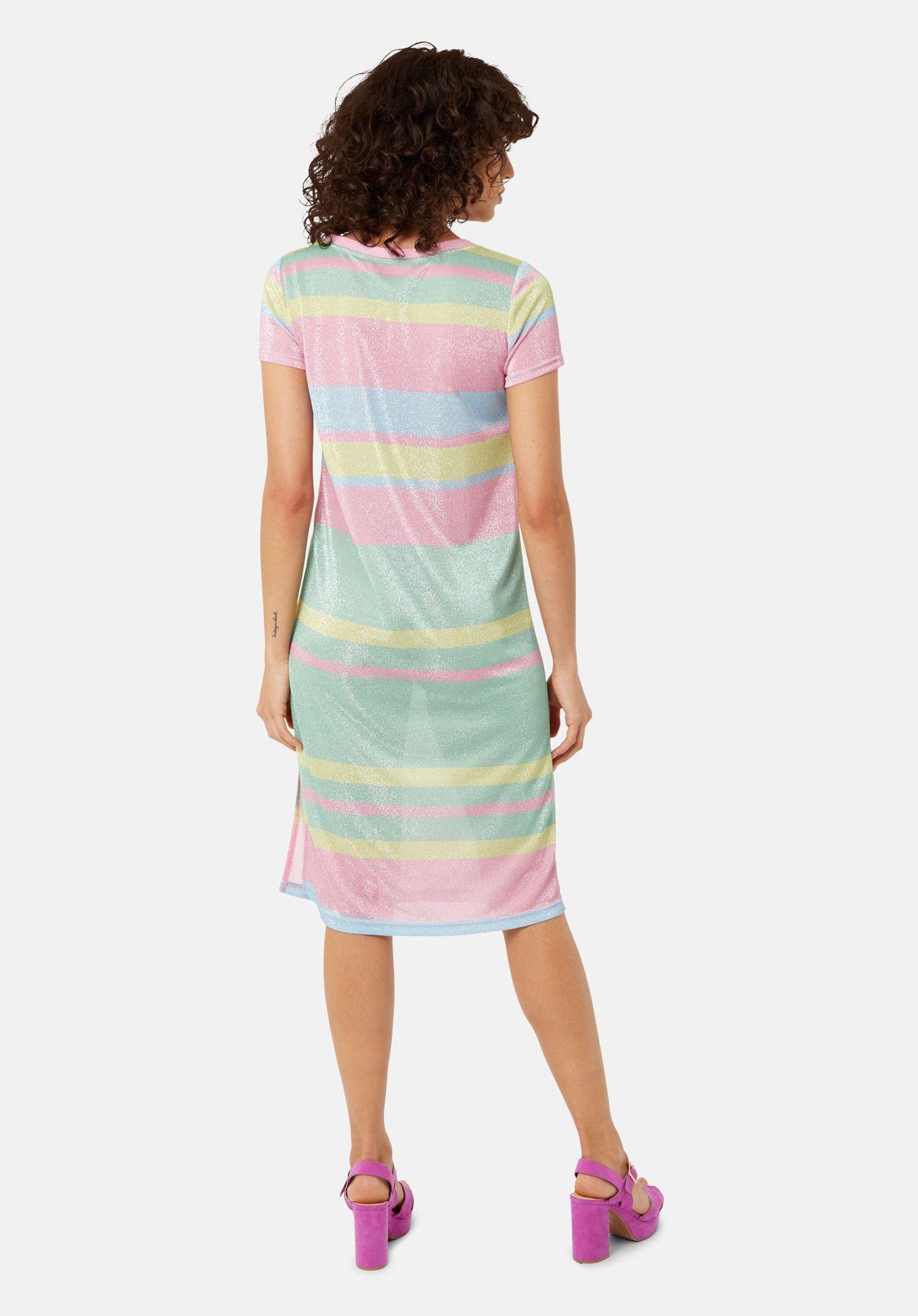 T-shirt Short Sleeved Stripe Midi Dress in Multicoloured