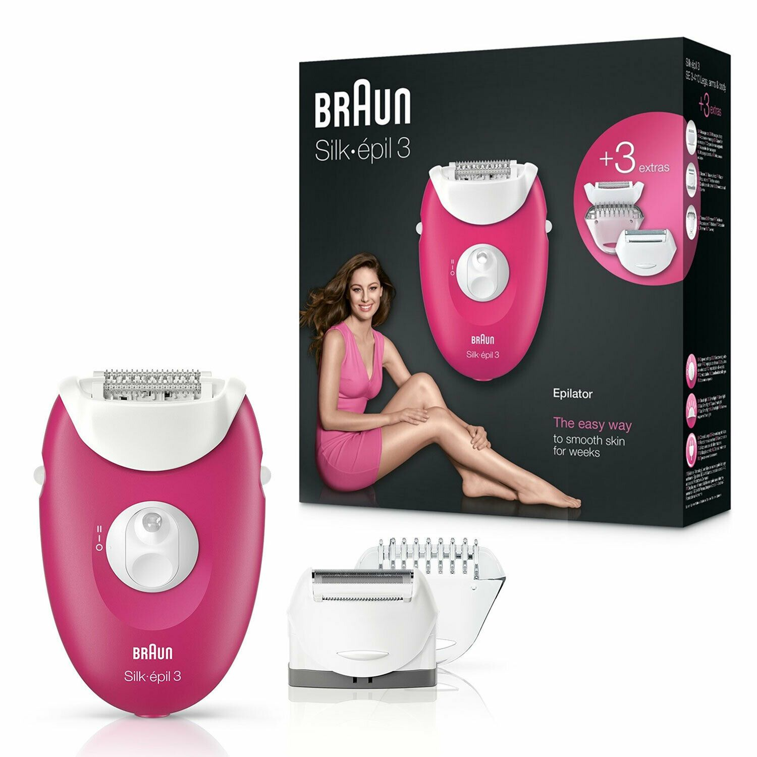 Braun Silk-épil 3 3-410 Raspberry Corded Epilator with 3 Extras (Raspberry Pink)