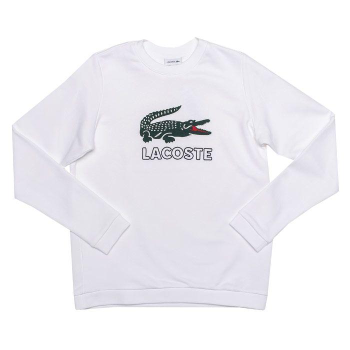 Boy's Lacoste Junior Logo Crew Sweat in White