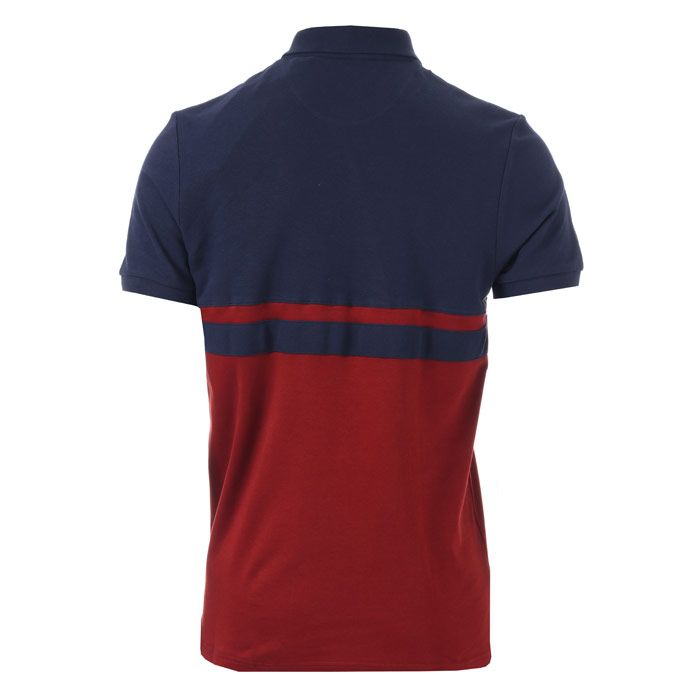 Men's Lyle And Scott Panel Stripe Polo Shirt in Navy Red
