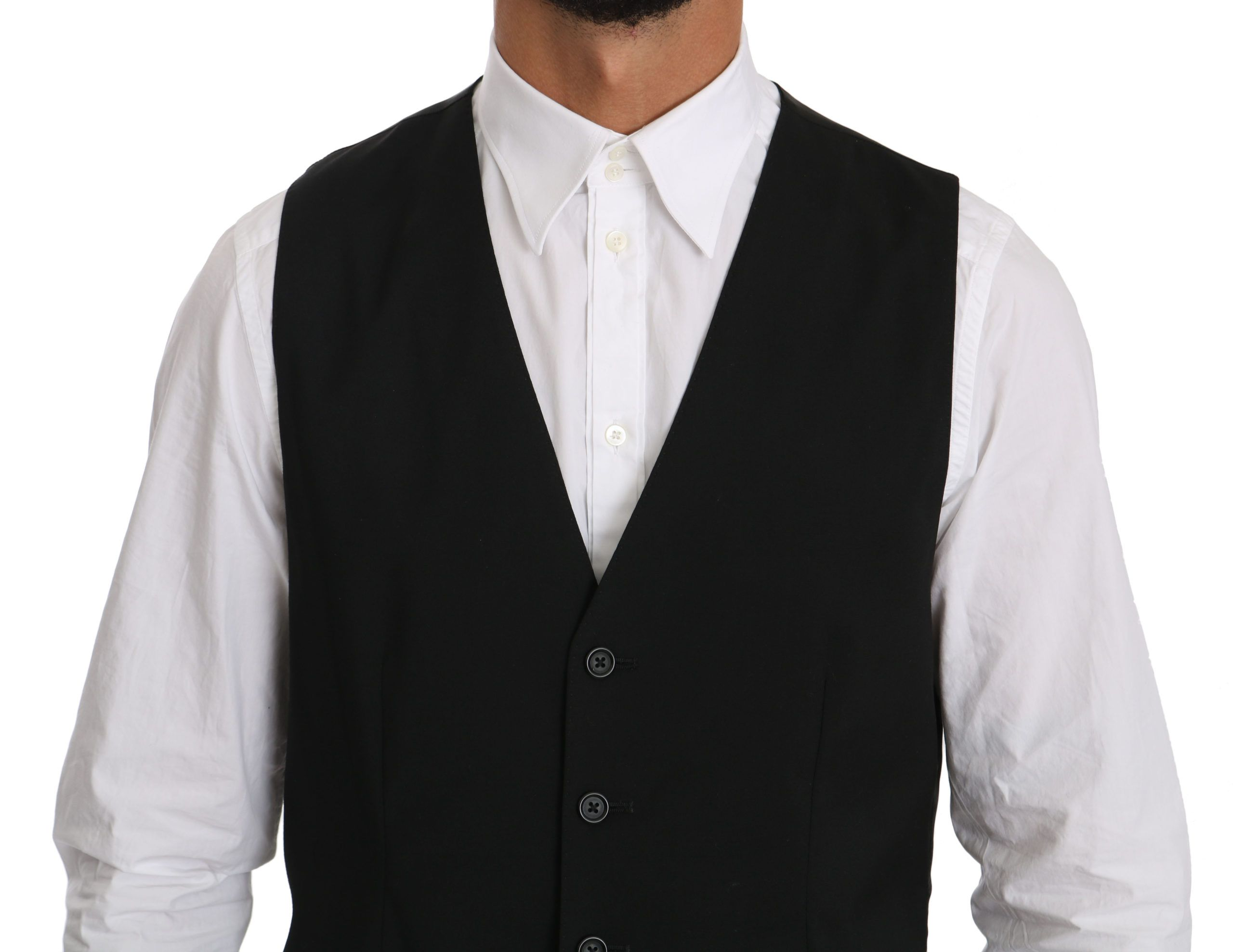 Dolce & Gabbana STAFF Black Waistcoat Formal Gilet Vest