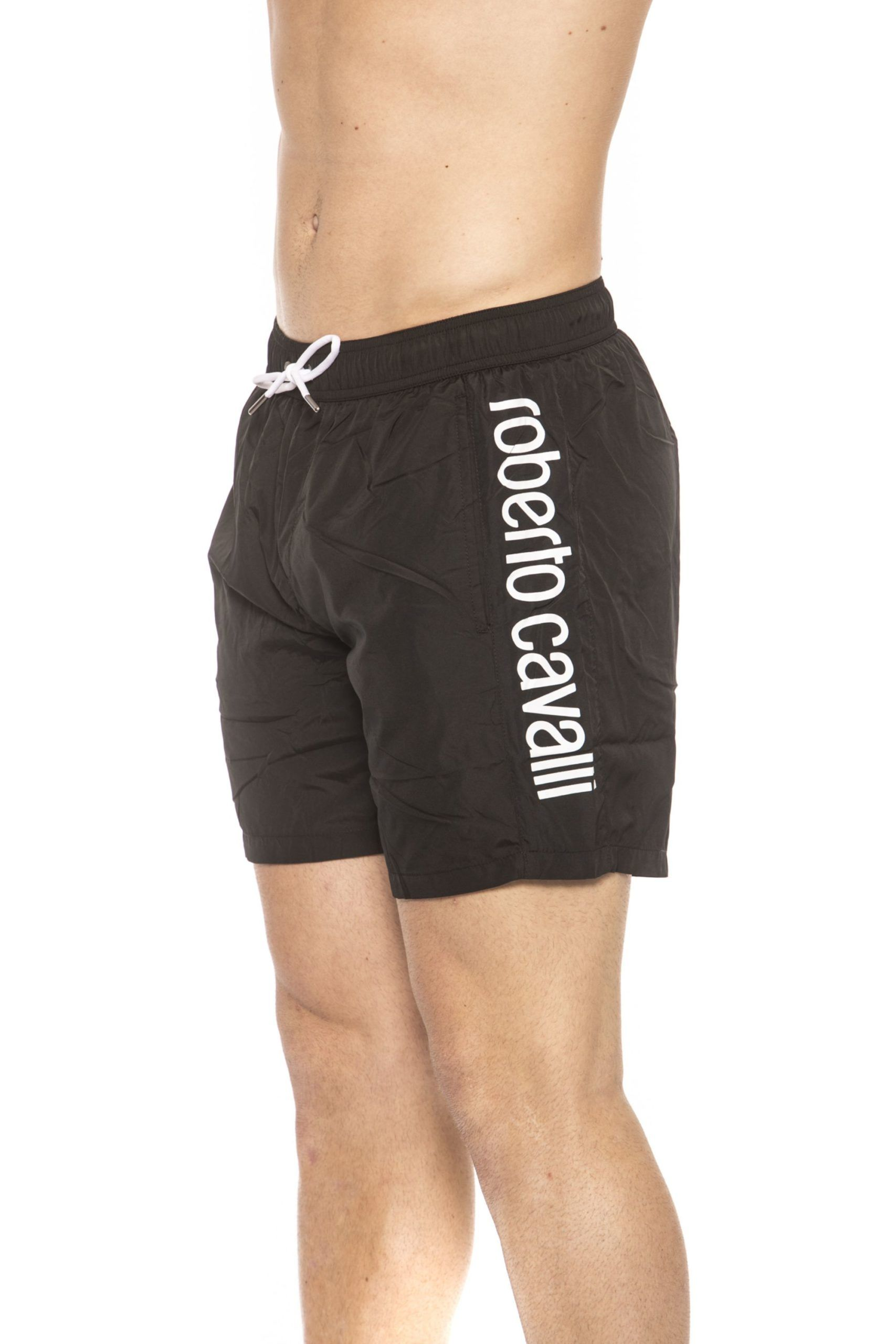 Roberto Cavalli Beachwear Black Beachwear Boxer With Pockets. Side Logo Print. Internal Net. Back Pocket