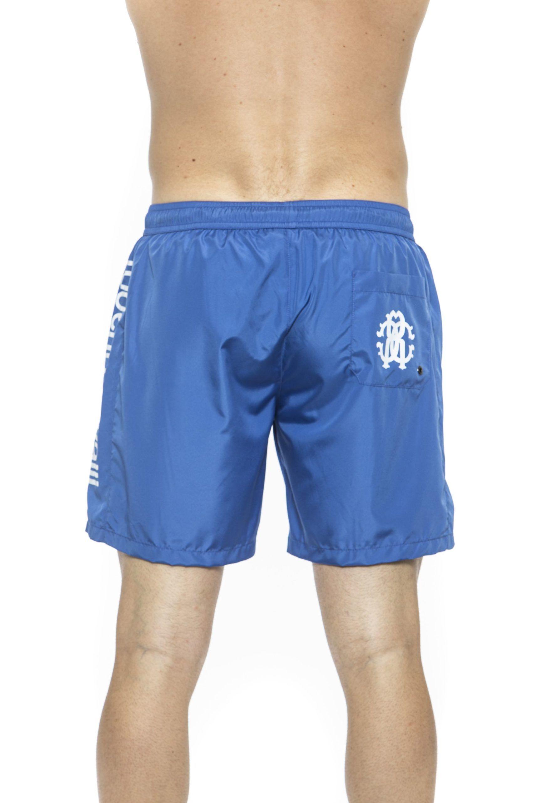Roberto Cavalli Beachwear Blue Beachwear Boxer With Pockets. Side Logo Print. Internal Net. Back Pocket
