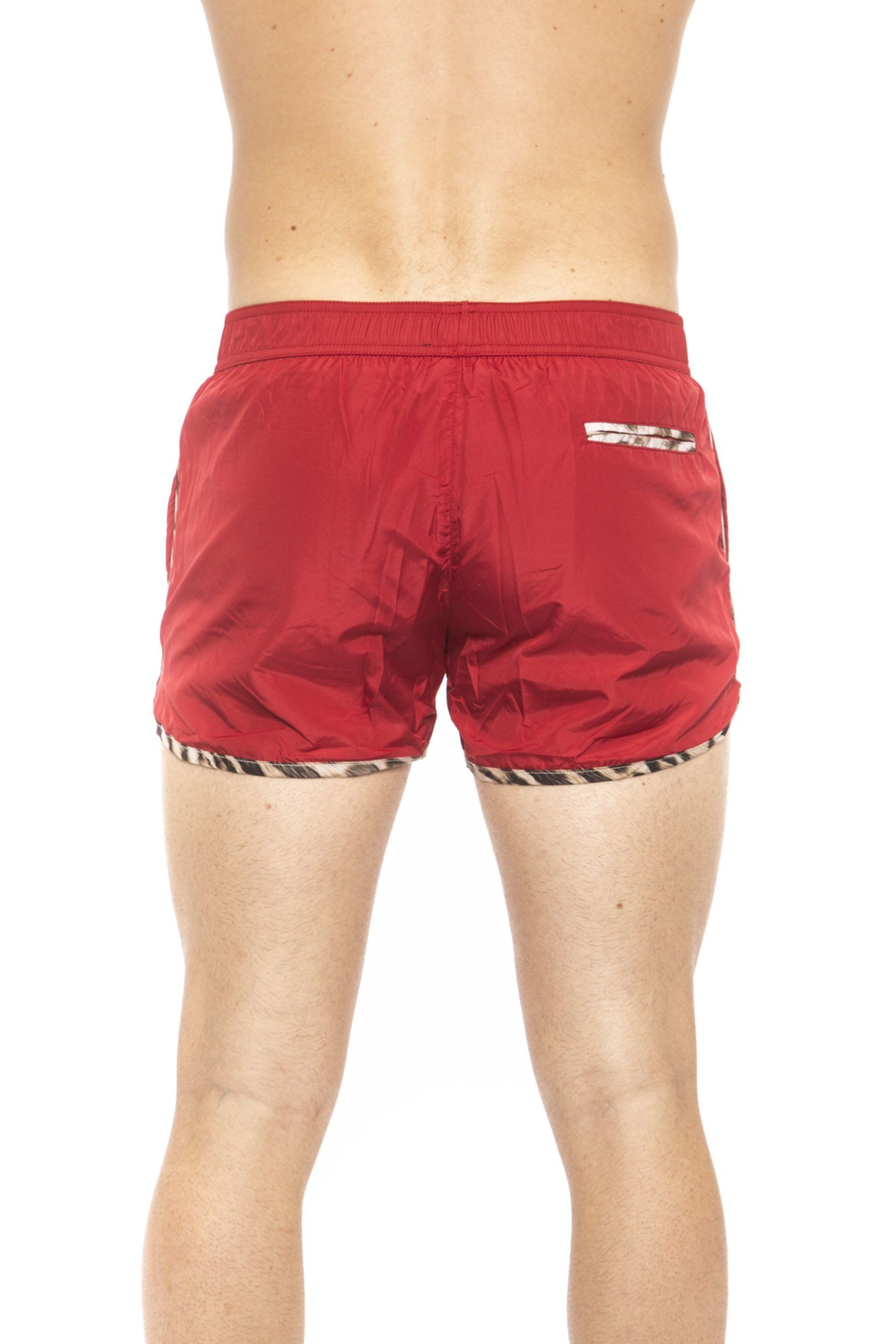 Roberto Cavalli Beachwear Red Beachwear Boxer With Pockets. Front Logo Print. Internal Net. Back Pocket. Spotted Edges.