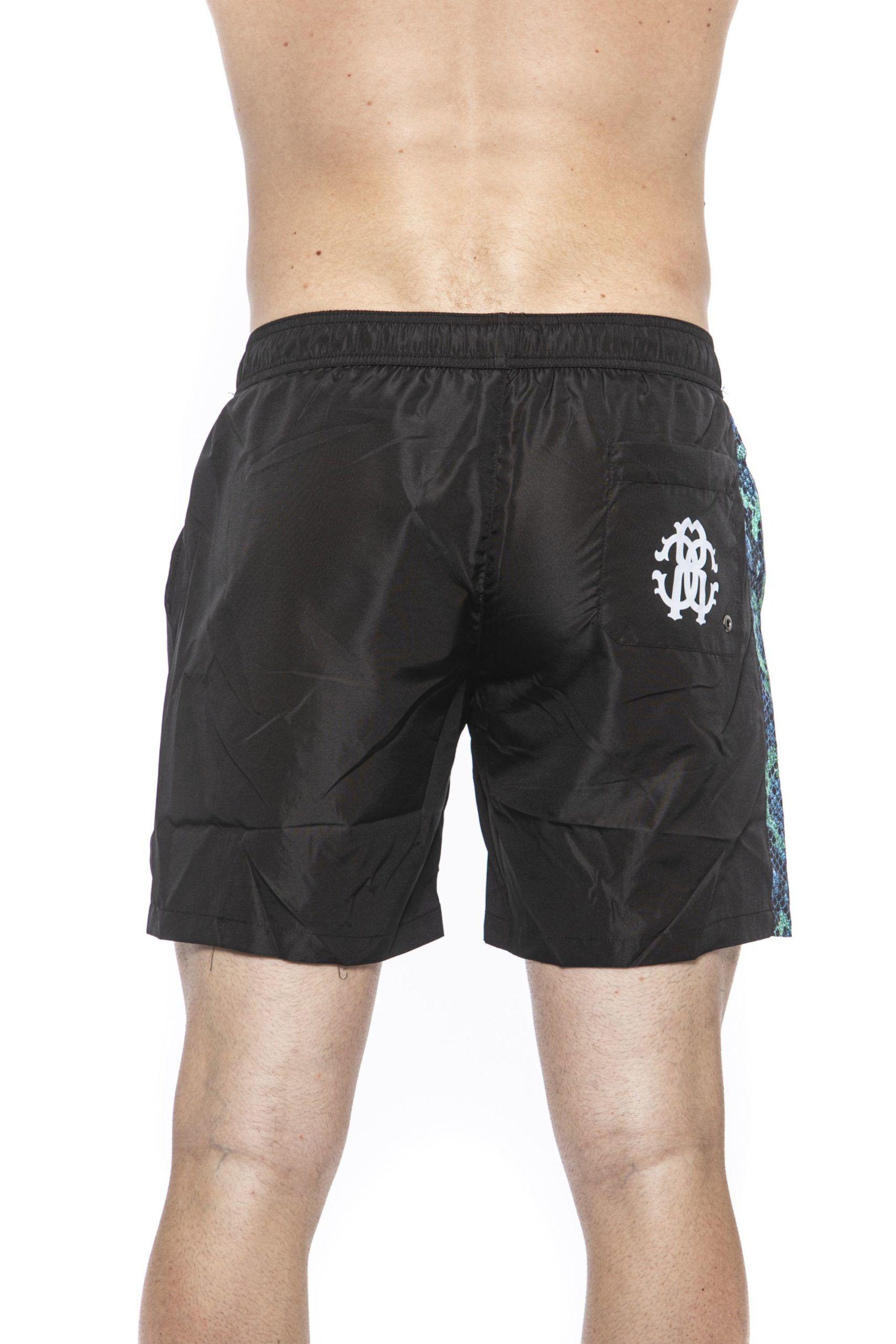 Roberto Cavalli Beachwear Black Beachwear Boxer. Side Band And Python Print. Internal Net. Back Pocket With Logo.