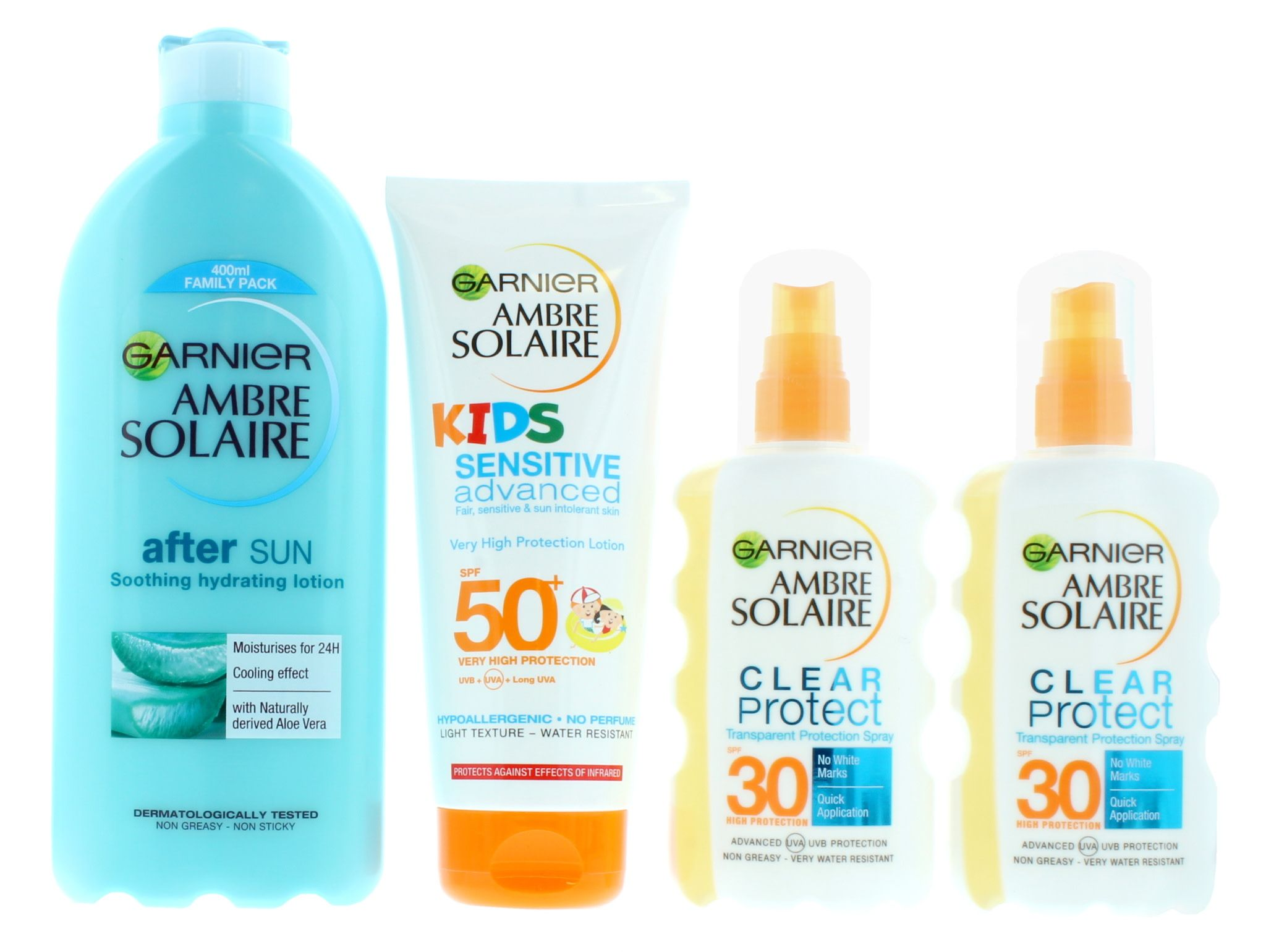 2 x Ambre Solaire Family Sun Care Kit - After Sun, 2x SPF30 and Kids SPF50