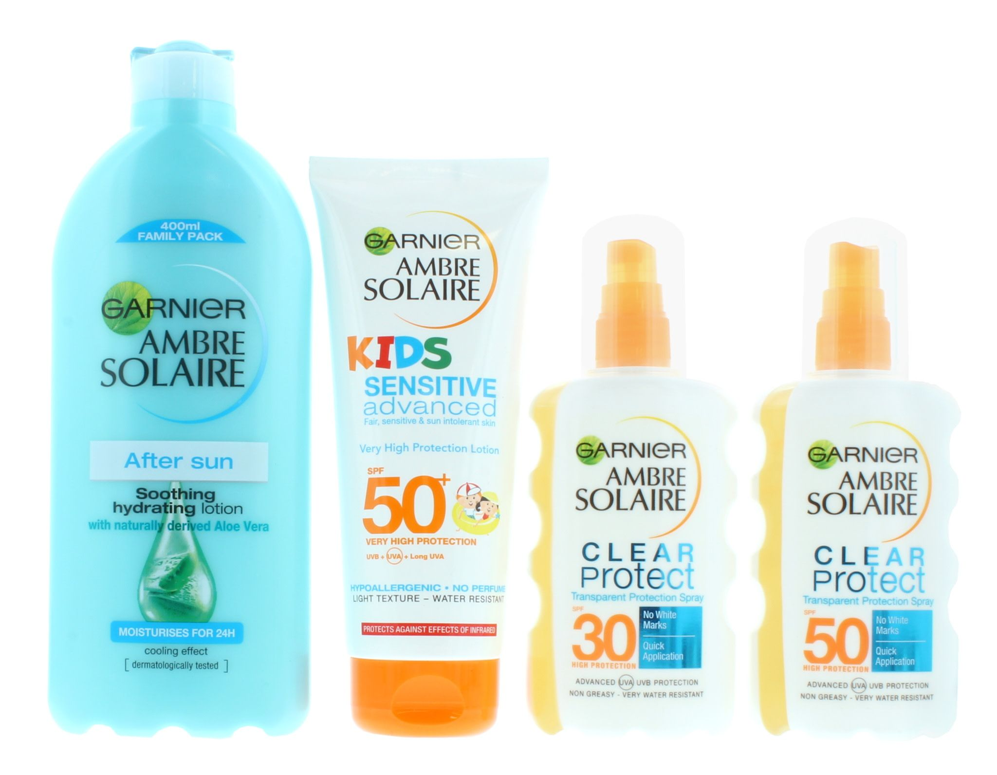 3 x Ambre Solaire Family Sun Care Kit - After Sun, 1x SPF30, 1x SPF50 and Kids SPF50
