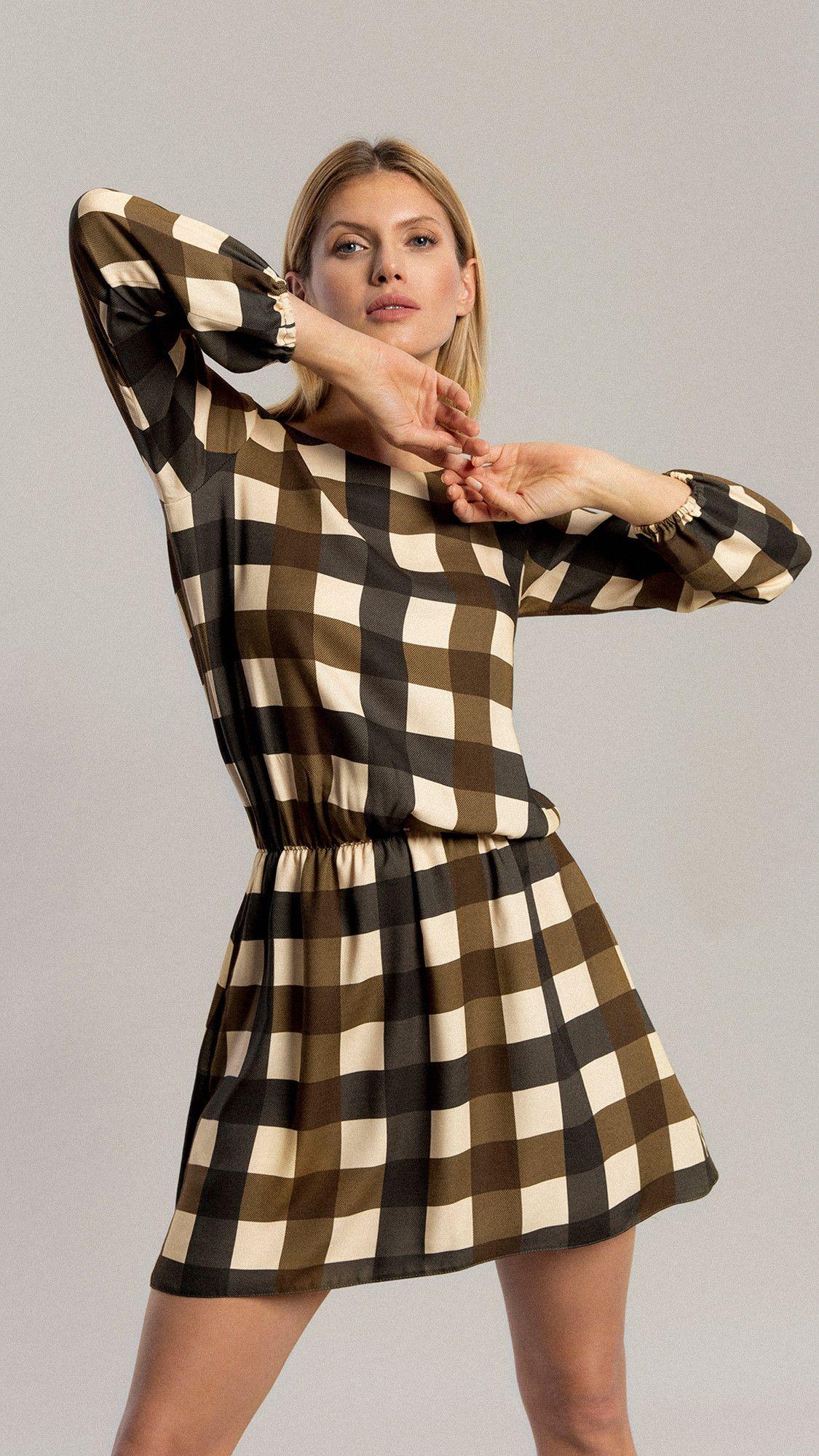 Dress Aster Khaki Grid