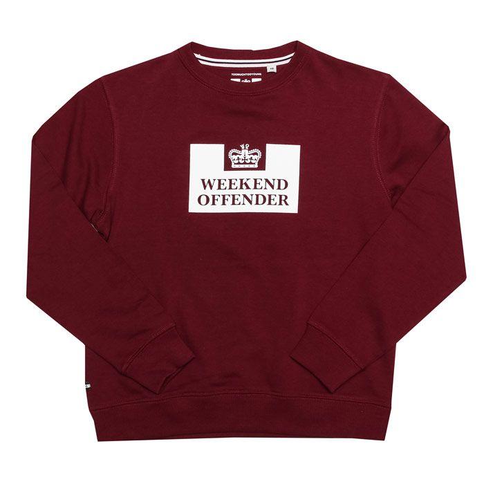 Boy's Weekend Offender Junior Penitentiary Crew Sweatshirt in Burgundy