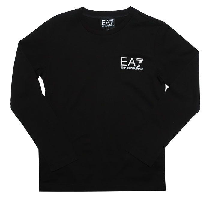 Boy's Emporio Armani EA7 Junior Long Sleeve T-Shirt in Black