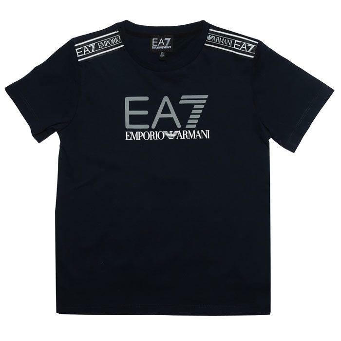 Boy's Emporio Armani EA7 Infant Logo T-Shirt in Navy