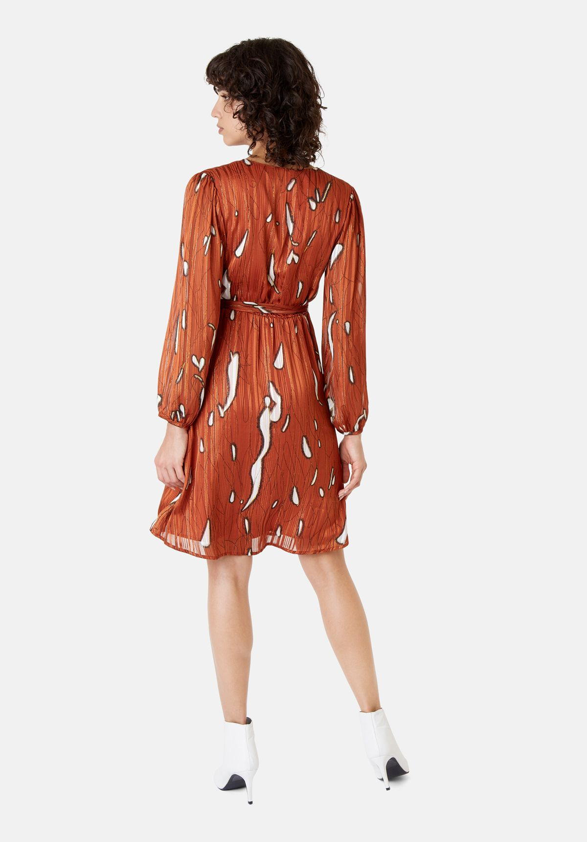 Maybe Wrap Mini Dress in Rust Red
