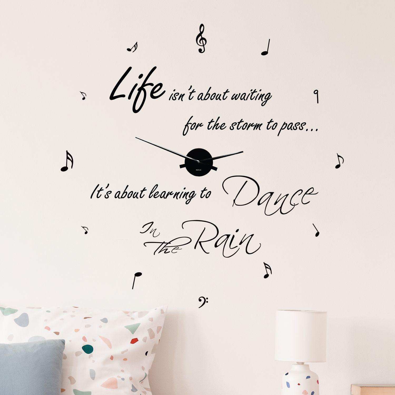 WC2109 - COM - WS4003 + WC2050 - Dance in The Rain Quote Wall Clock