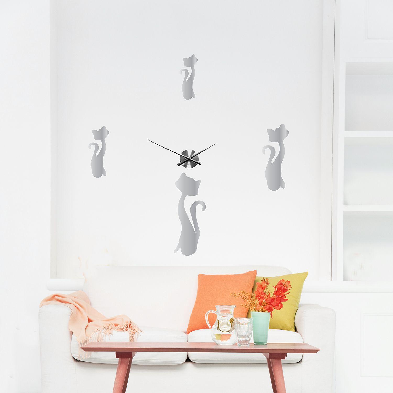 WC2115 - COM - WSM2053 + WC2051 - Cats Mirror Wall Clock