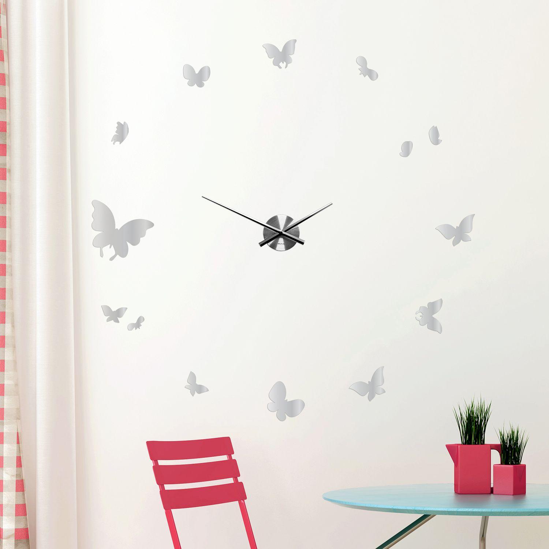 WC2117 - COM - WSM2057 + WC2051 - Butterflies Mirror Wall Clock