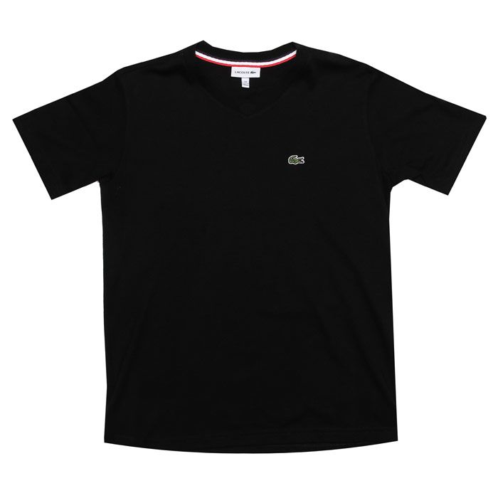 Boy's Lacoste Junior Logo V Neck T-Shirt in Black