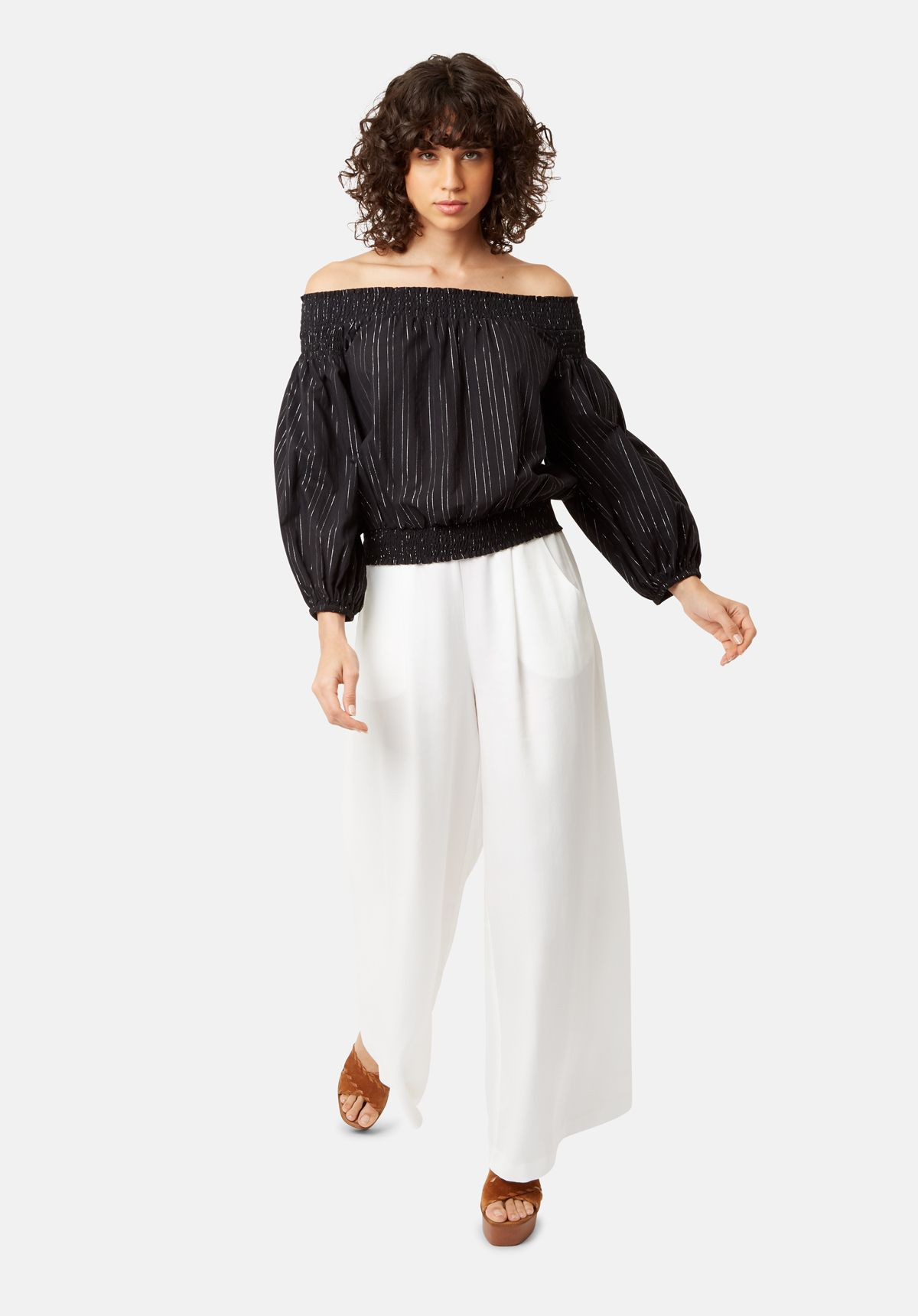 Ava Off The Shoulder Long Sleeve Top in Black