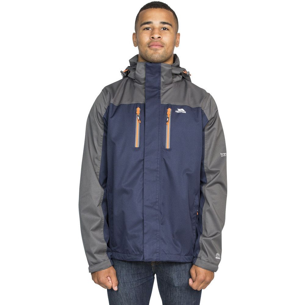 Trespass Mens Wooster Detachable Hood Zip Waterproof Jacket Coat