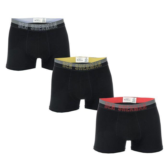 Men's Ben Sherman Arron 3 Pack Boxer Shorts in Black