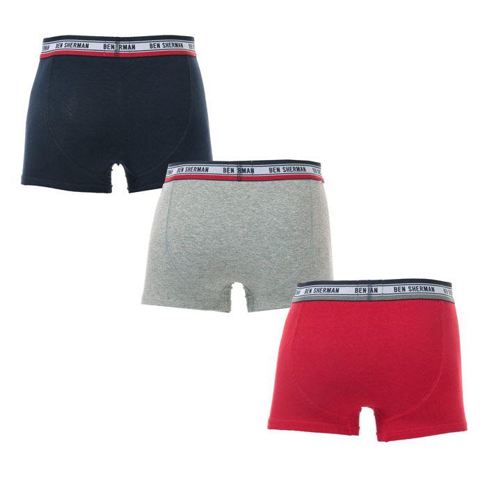 Men's Ben Sherman Cosmo 3 Pack Boxer Shorts in Navy Grey