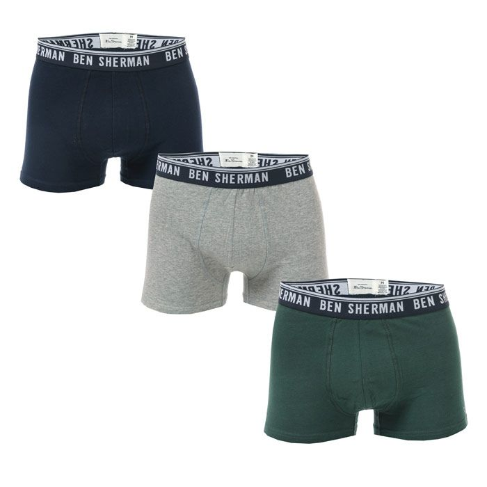Men's Ben Sherman Cullen 3 Pack Boxer Shorts in Navy Grey