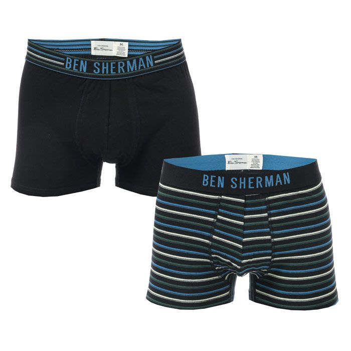 Men's Ben Sherman Gene 2 Pack Boxer Shorts in Black