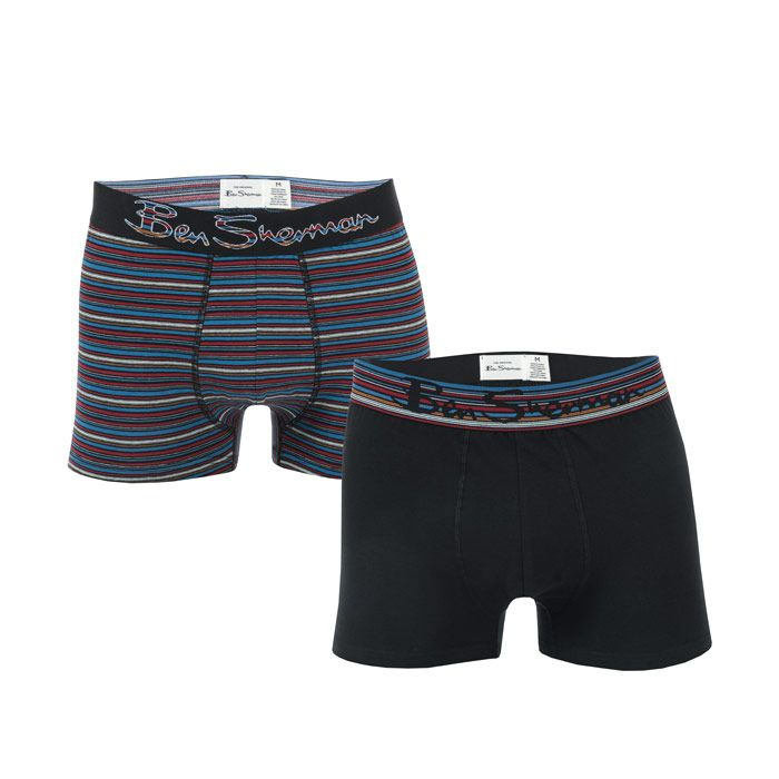 Men's Ben Sherman Gib 2 Pack Boxer Shorts in Black