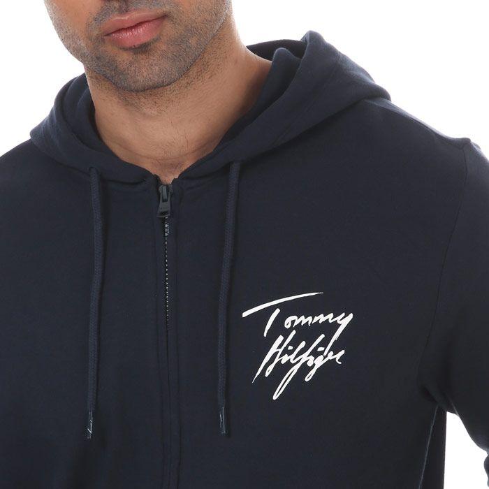 Men's Tommy Hilfiger Logo Zip Hoody Navy Sin Navy