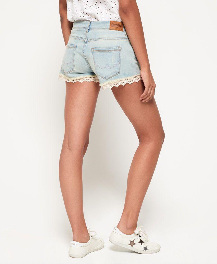 Superdry Lace Trim Denim Hot Shorts