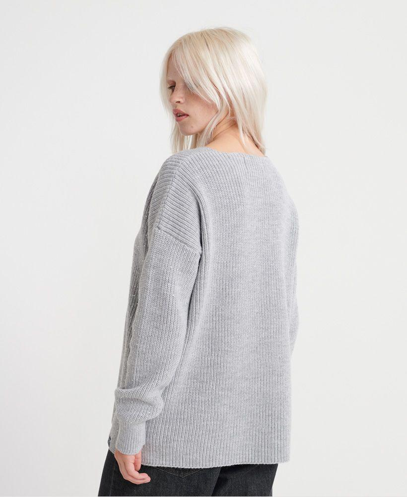Superdry Erin Embellished V-Neck Knitted Jumper