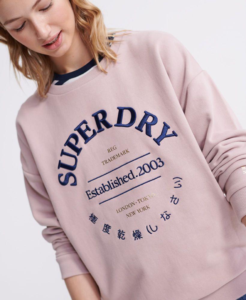Superdry Applique Serif Loopback Crew Sweatshirt