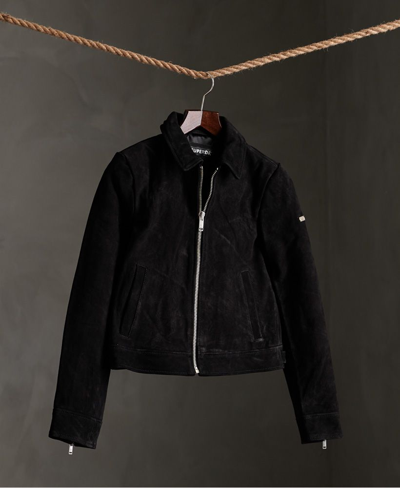 Superdry Cropped Suede Harrington Jacket