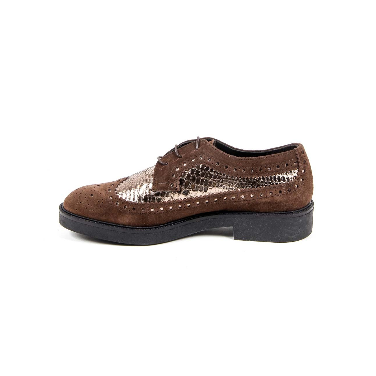 V 1969 Italia Women's Brogue Shoe B1670 VELOUR + PIETRA T. MORO