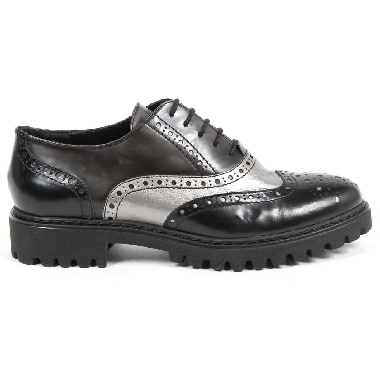 V 1969 Italia Women's Oxford Shoe 5135 ABRASIVATO NERO