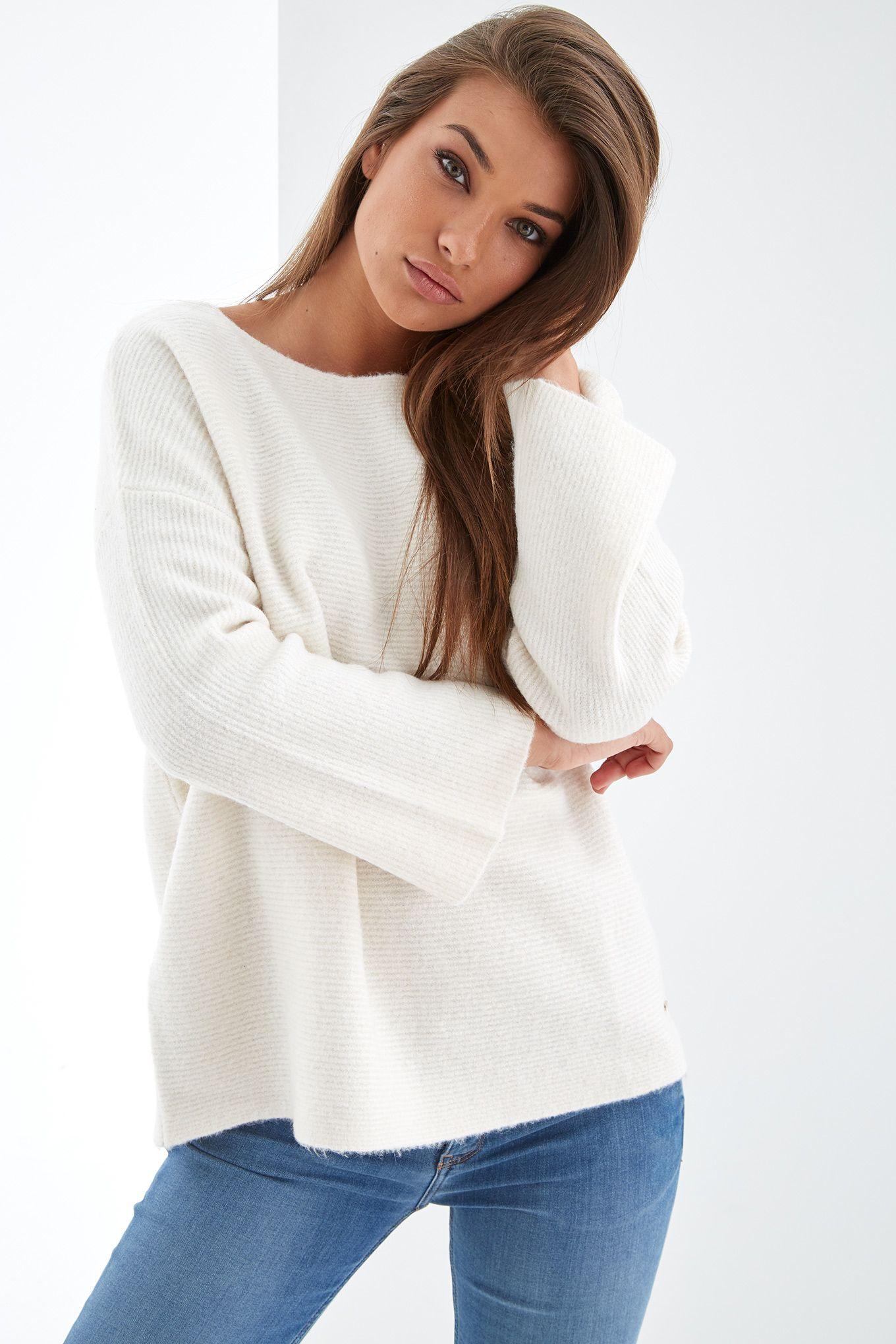 Womens beige scoop neckline jumper