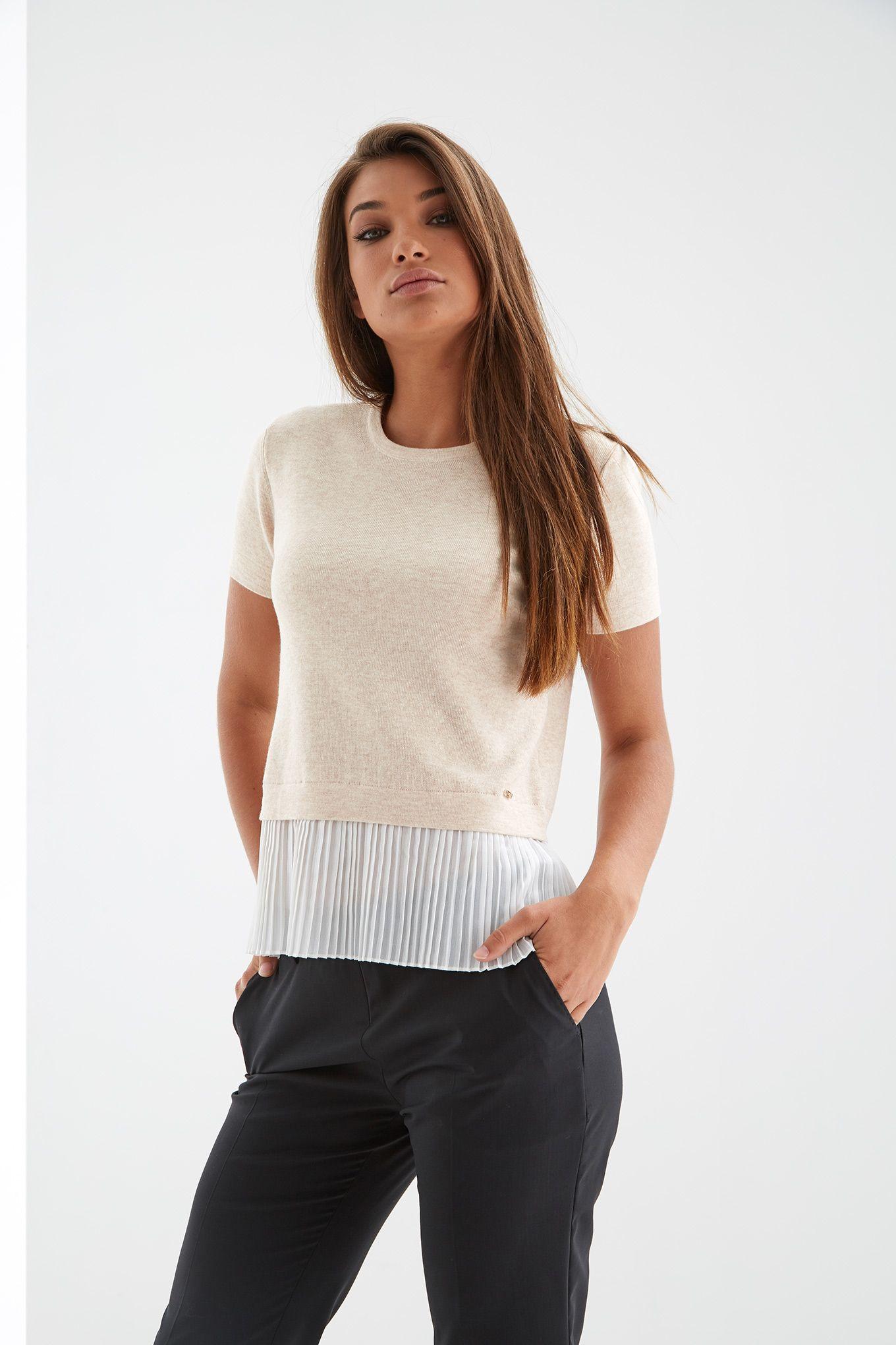 Womens beige short sleeve top